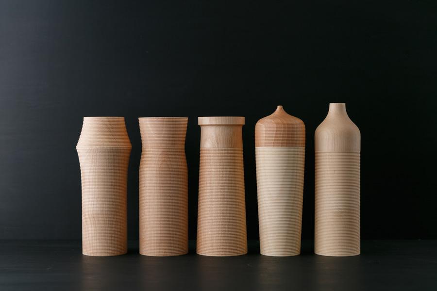 左から カルミ 菱 φ78 H193mm 頸 φ70 H193mm 塔 φ72 H193mm 帽 φ70 H208mm 瓶 φ64 H212mm 各¥12,000