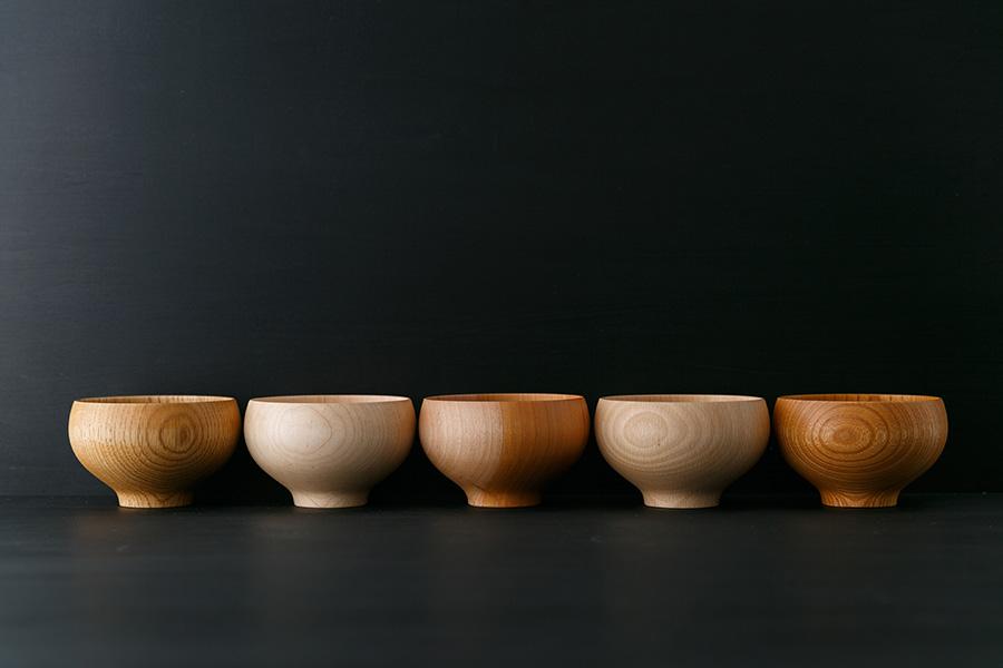 左から マテバリ 楢・楓・桜・橅・欅 φ110 H70mm 各¥3,500