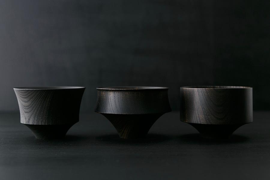 左から つむぎ 駒型 φ104 H74mm 富士 φ115 H74mm 壺型 φ105 H74mm 各¥5,000