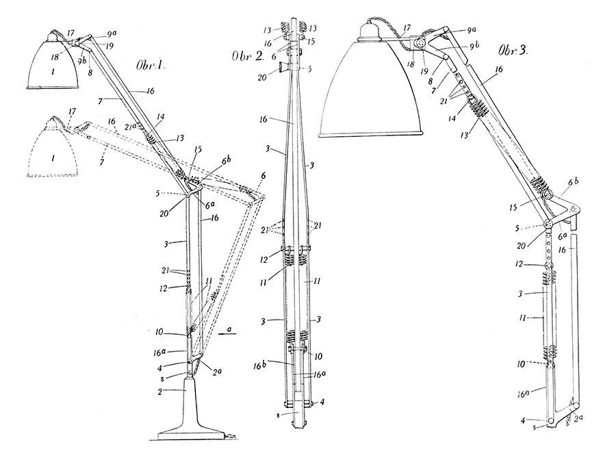 「model1209」の設計図。初代は4本スプリング。