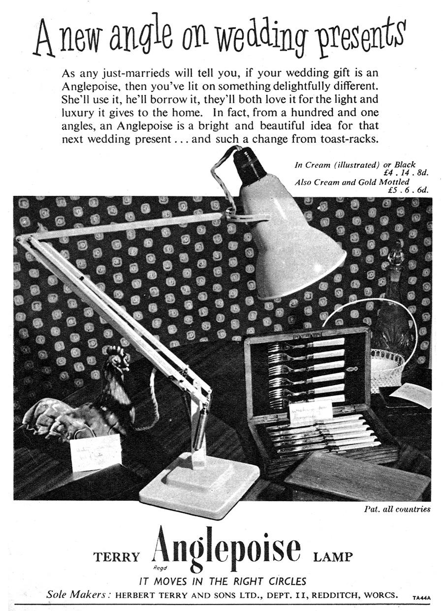 1950年代のポスター。画期的な構造を持つ美しい照明 はウェディングプレゼントにも重宝されていた。