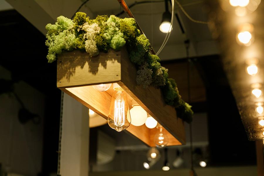 モスが森のように見えるBOX型の照明。いろいろなカタチの電球で遊びたい。斜めに吊るして森の斜面を見せることができるよう工夫されている。