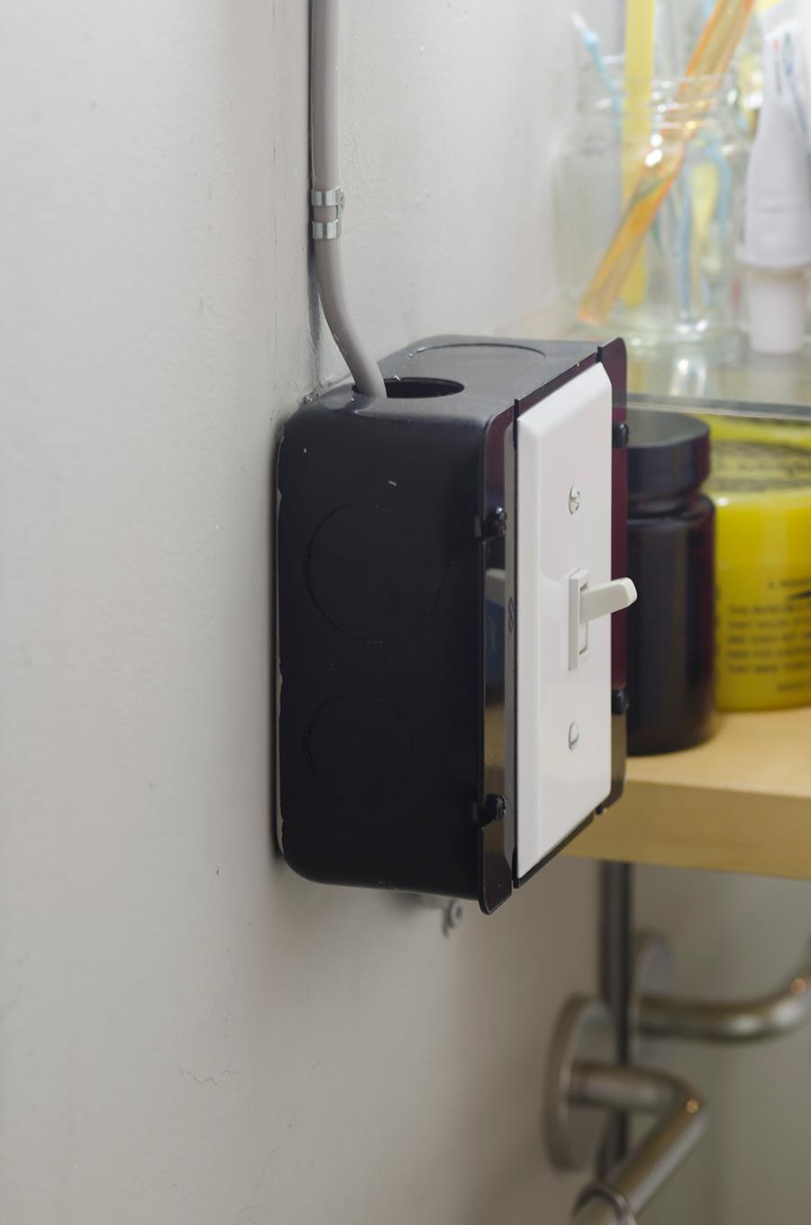 部屋のスイッチはレゴのような箱型でユニークに。
