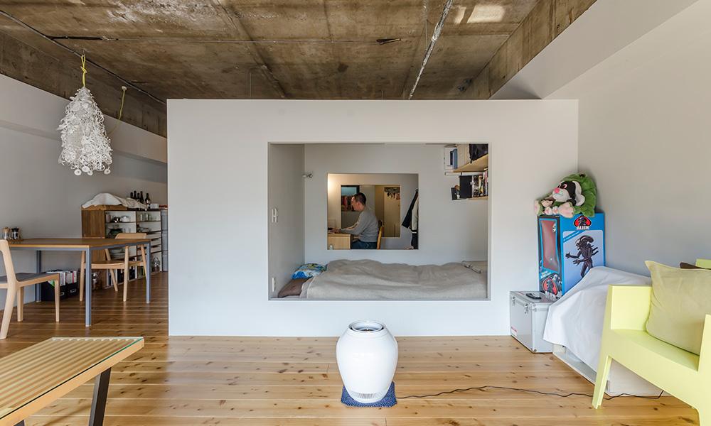 独創的なワンルーム 白い箱が叶えたプライベート空間