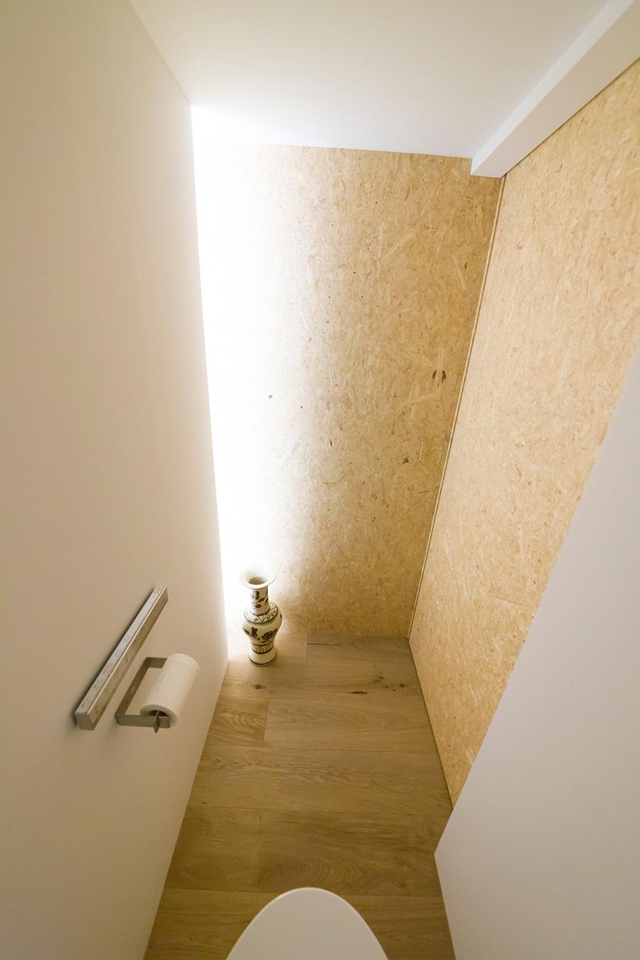すっきりとミニマルにまとめたトイレは、間接型のLED照明の効果で、まるで宇宙船で旅をしているような未来的な空間。
