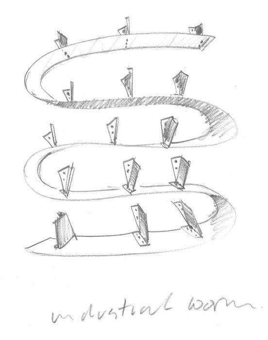 ロン・アラッドによるブックワームのドローイング。