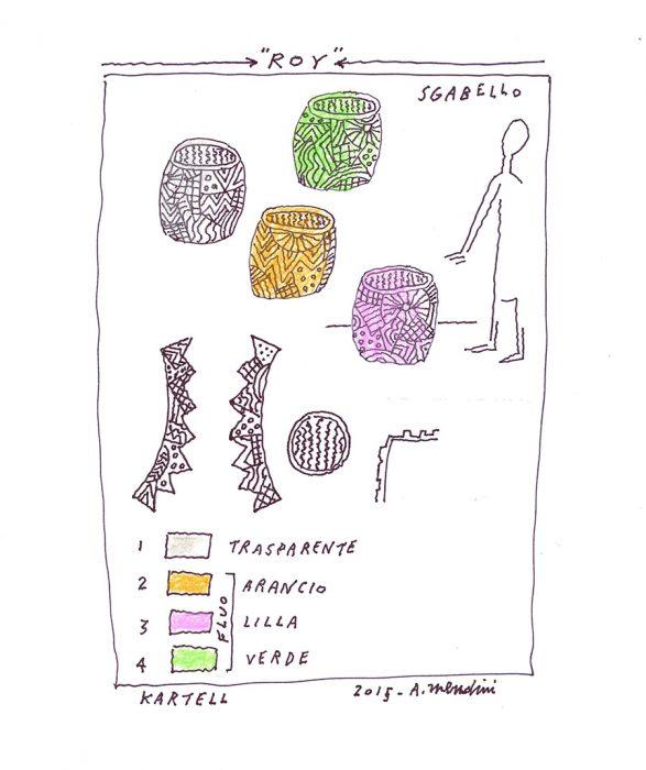アレッサンドロ・メンディーニによるドローイング。細かなグラフィックがそのまま製品に反映される。
