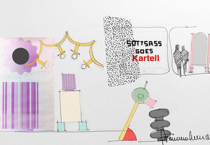 カルテルのデザインも手がけるデザイナー、フェルーチョ・ラヴィアーニによる「Kartell goes SOTTSASS」のインスタレーションのスケッチ。