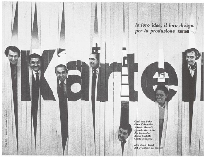 1969年、初めてミラノサローネ出展した時のデザインチーム。アンナ・カステッリ・フェリエーリ、ジョエ・コロンボらが並ぶ。