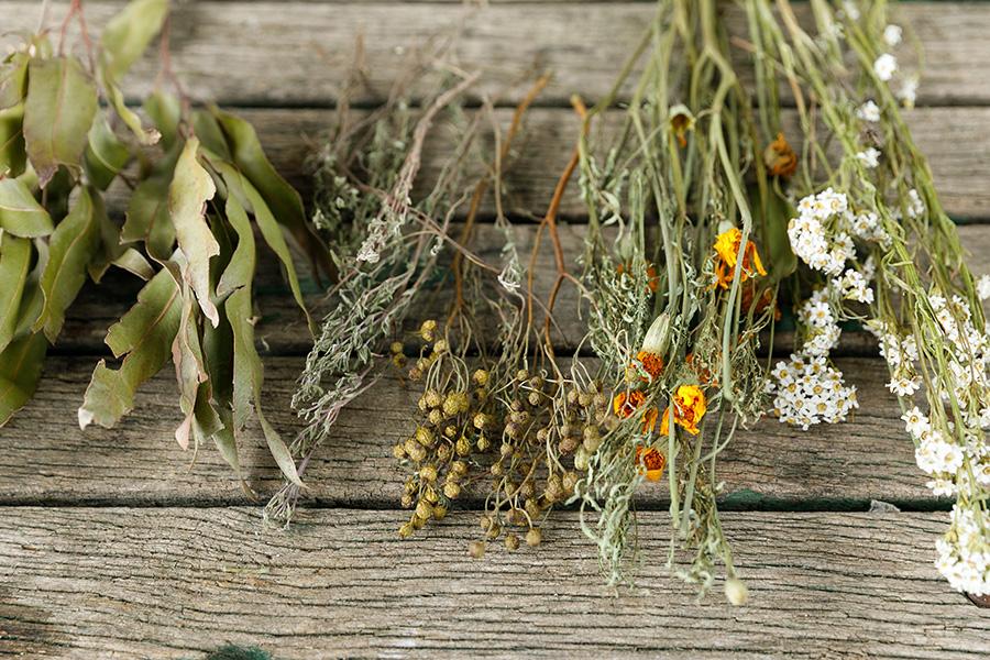 [ハーブの材料]左から、レモンユーカリ、タイム、野バラの実(飾りとして使用)、マリーゴールド、イクソディア(飾りの小花として使用)
