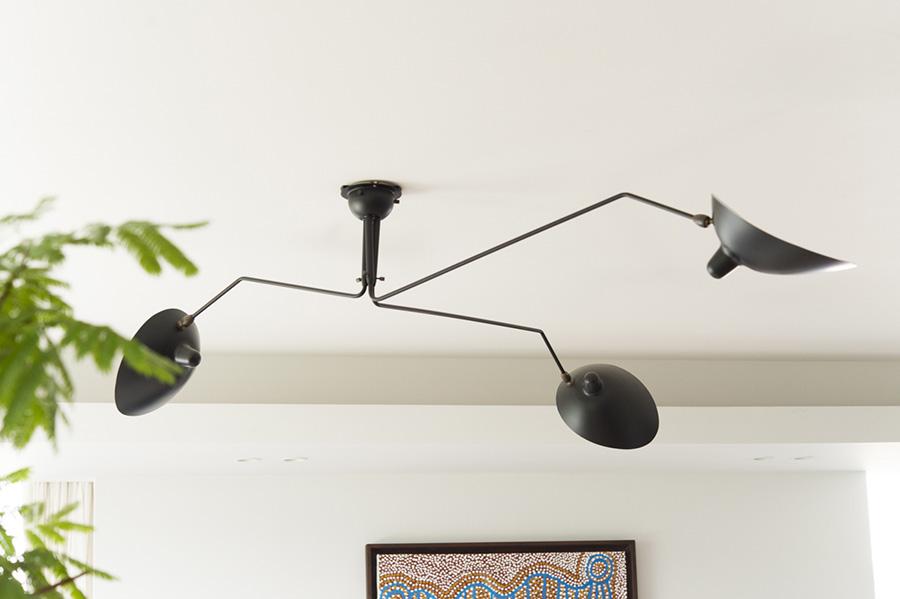 オブジェのような照明は、セルジュ・ムーユ。先鋭的なデザインも映える。