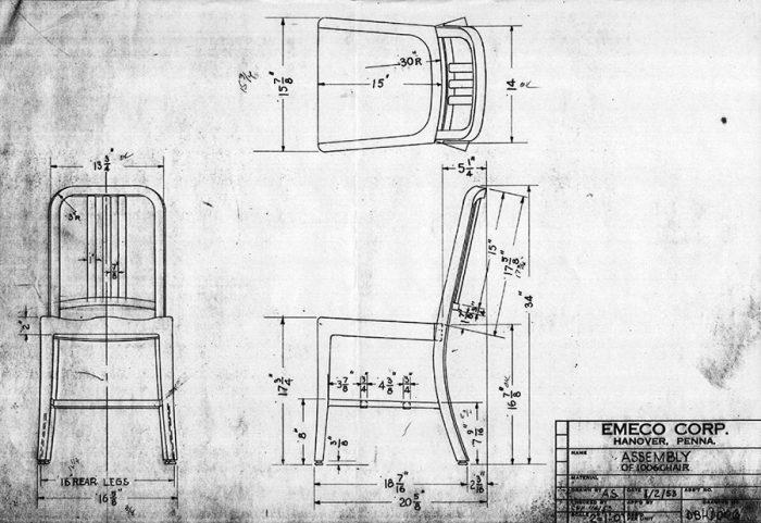 1944年に誕生したNavy Chairのドローイング。初期モデルは70年以上経ったいまでも現役。
