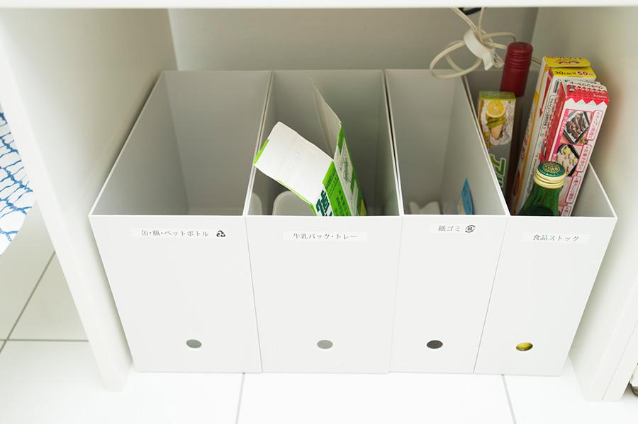 紙パック、瓶、ペットボトルなどリサイクルに出すものを収納。ファイルボックスが意外と活躍。