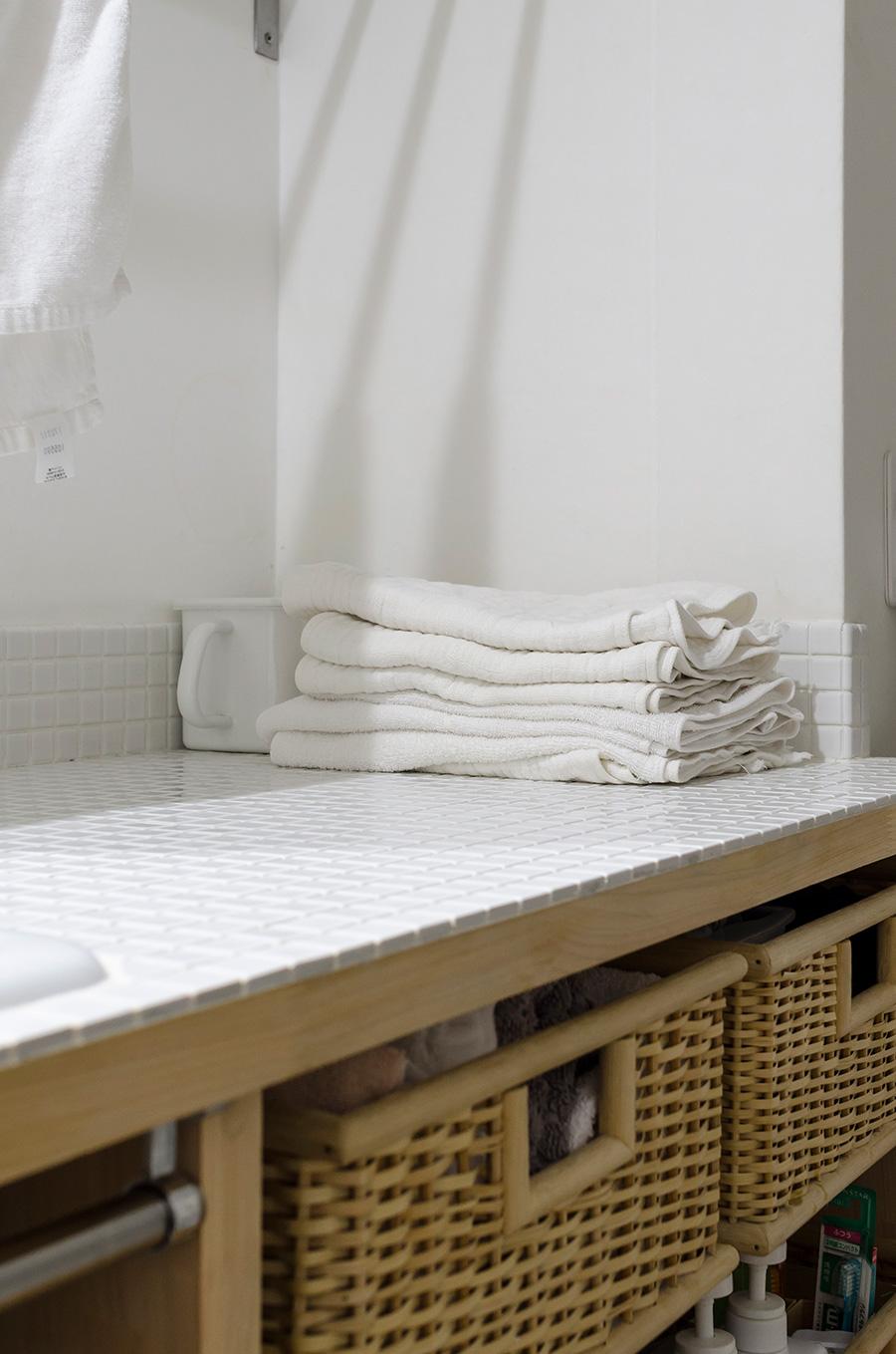 タオルは衛生面から共用せず、ひとり1枚。肌にやさしい素材を愛用。