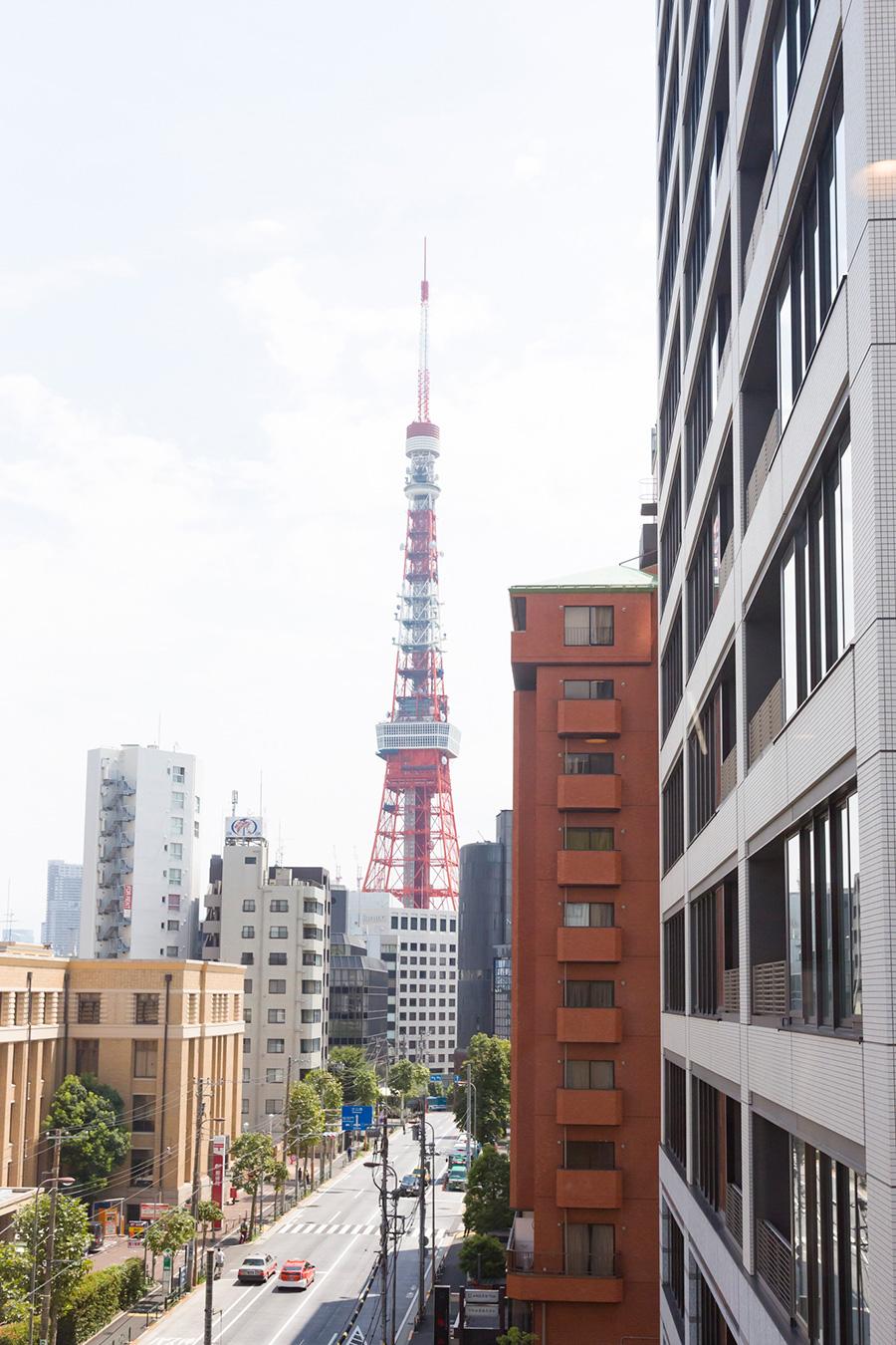部屋から見える東京タワー。「何軒か物件を見に行きましたが、東京タワーの眺めが一番よかったこの部屋に決めました」