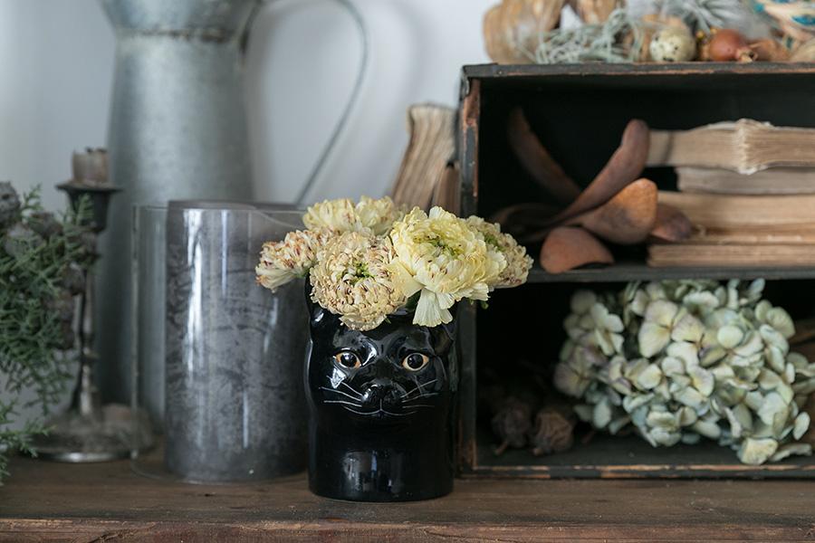 雑貨屋さんで一目惚れして衝動買いしてしまったという猫の器にラナンキュラスを生けて。棚を使って高低差や奥行き感を出して「立体的」に飾ると、お花が生きてくる。