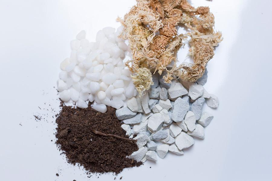 テラリウム用の土として用意するのはこの4種類。上から時計回りに、水苔、珪酸塩白土、ピートモス、玉砂利(寒水)。