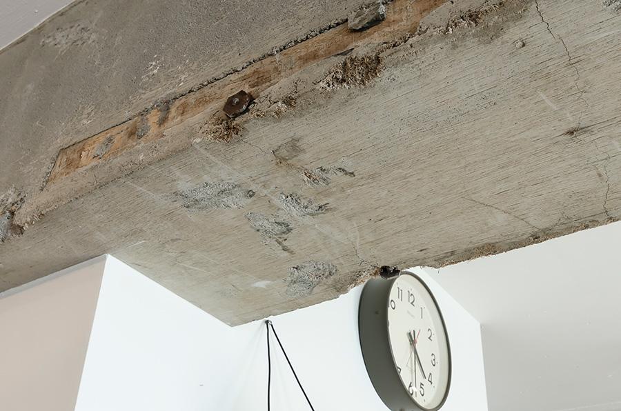 コンクリートの雰囲気をそのまま生かした天井の梁。