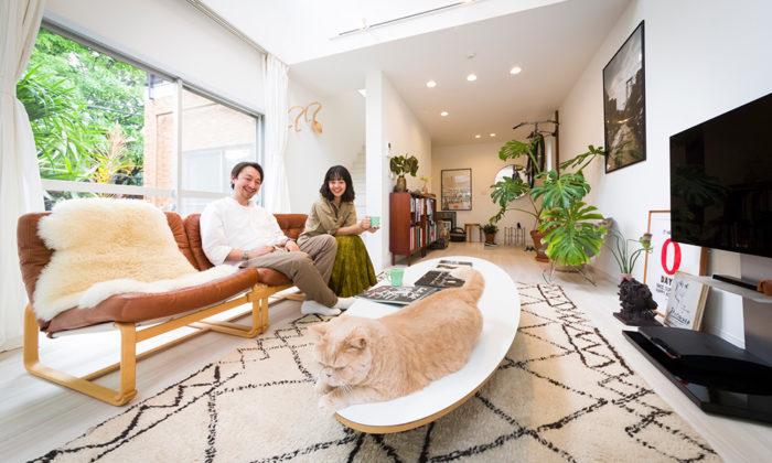 ヴィンテージマンションに暮らすグリーンと猫に癒される暮らし