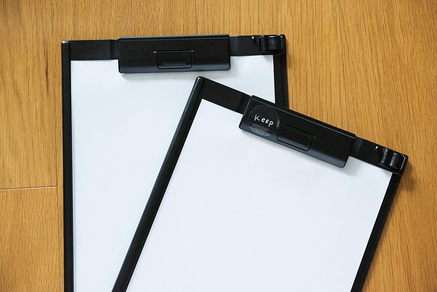 学校からのプリント、仕事関係の書類は取っておくもの、一時保管のものに分けてクリップ。