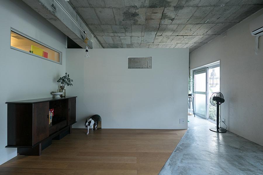 ベッドルームとリビングは壁でゆるやかに分けている。壁には四角い窓と、ダイズちゃん専用通路が開いている。フローリングとモルタルの斜めのラインが、リズミカルな空間に。