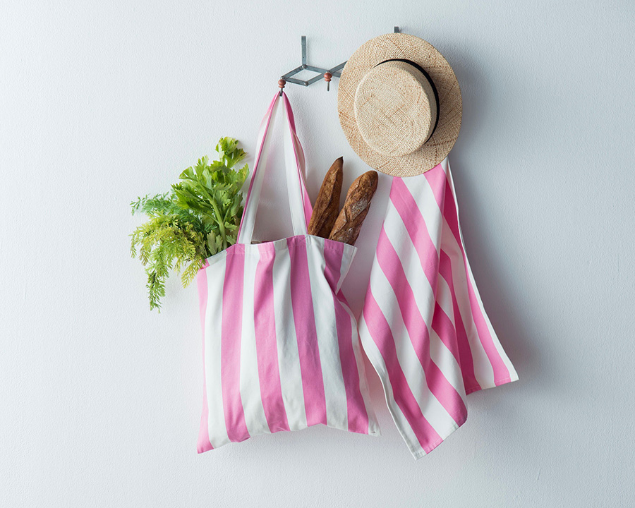 EXCLUSIVE STRIPE SHOPPER(DISCUS)  W450 H470mm ¥4,200 TEA TOWEL(DISCUS) ¥1,500