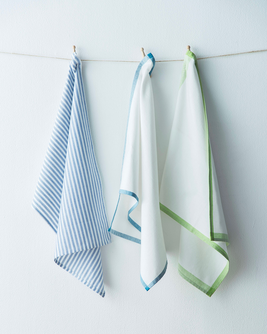 TICKING STRIPE TEA TOWEL¥1,500 PLAIN TEA TOWEL (WHITE × SAX・WHITE × GREEN)  各¥1,000 70cm × 48cm