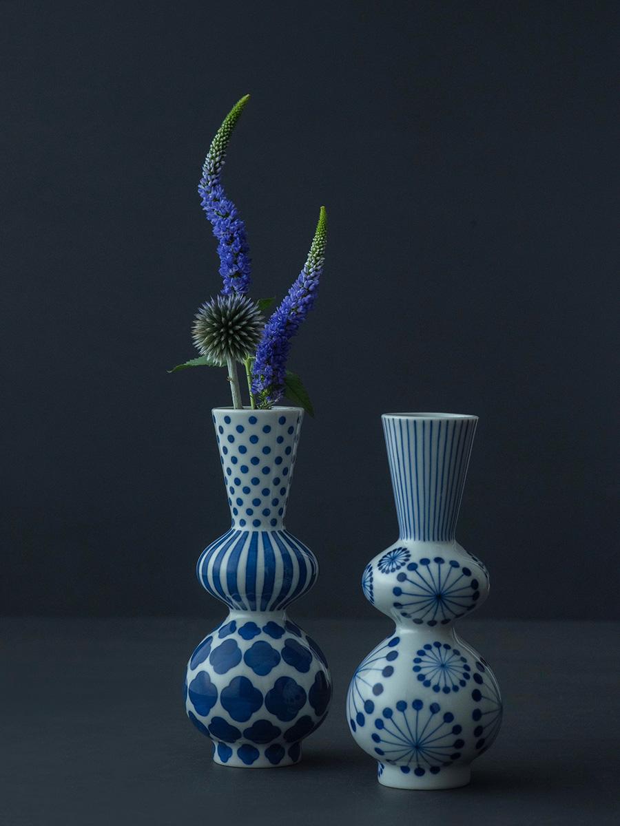 徳利 ラッパ型  φ60 H165mm 左から 縞に木瓜 水玉  ¥17,000 花  ¥14,000