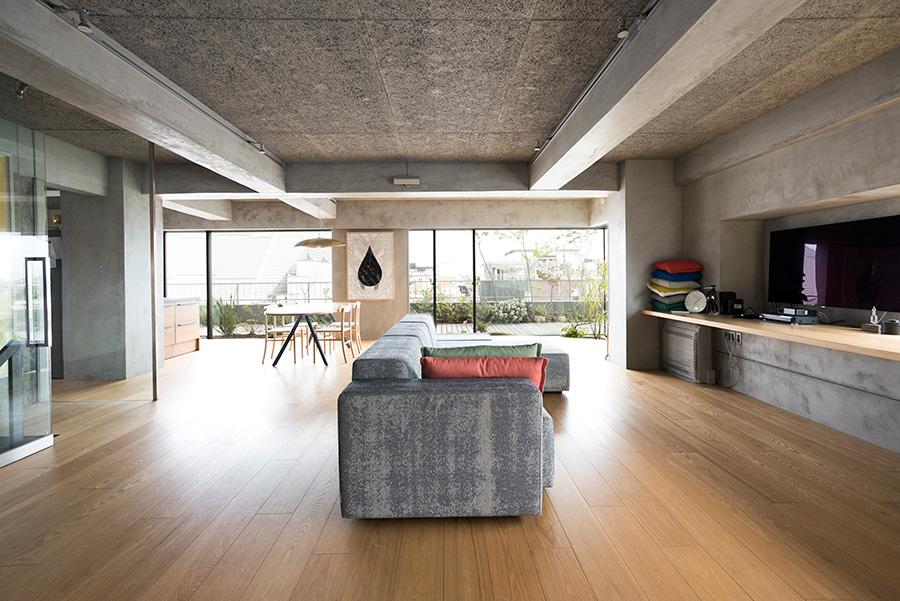 3方向から光が入る。天井には木毛セメント板を使い質感を出した。床は幅広で長尺のアッシュ材を使用。