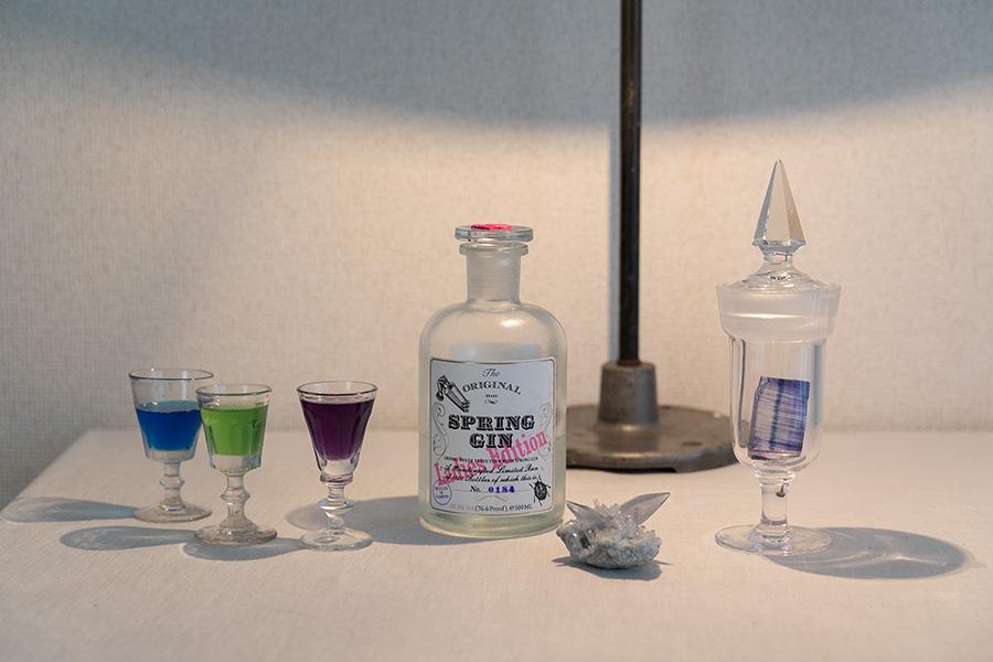 右の標本瓶に入っている青い結晶は岩塩で、実はこれも鉱物。海外で見つけてきたクラフトジンや鮮やかな色が美しいリキュールなど、日本未入荷のお酒を飲むのが家での楽しみ。
