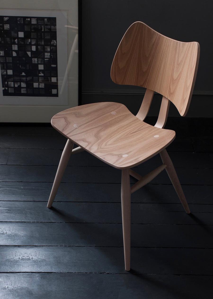 独特なフォルム、ニレ材の美しい木目、伝統技法による接合部分、すべてが美しい椅子。
