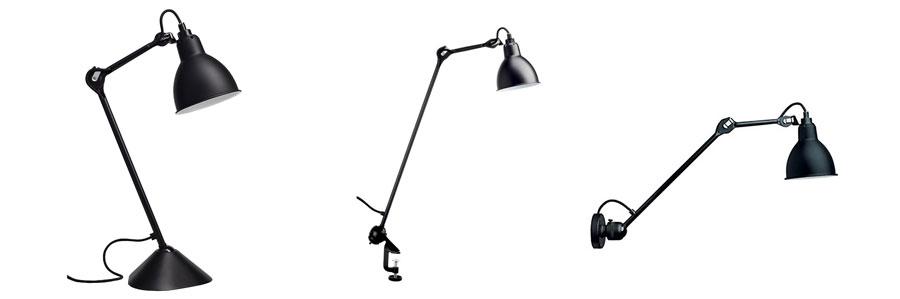 左から LAMPE GRAS NO.205 シェード φ140mm H140mm  アーム 390mm  ¥79,000 LAMPE GRAS NO.201 ROUND シェード φ140mm H140mm  アーム 590mm  ¥79,000 LAMPE GRAS NO.304 L40 シェード φ140mm H140mm  アーム 400mm  ¥89,000