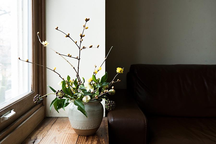 冬から春にかけて蝋を思わせる黄色い花が咲くロウバイ、冬に実がなるヘデラベリー、寒さに強いクリスマスローズを、陶器の器に。枝ぶりをダイナミックに活かすのがポイント。