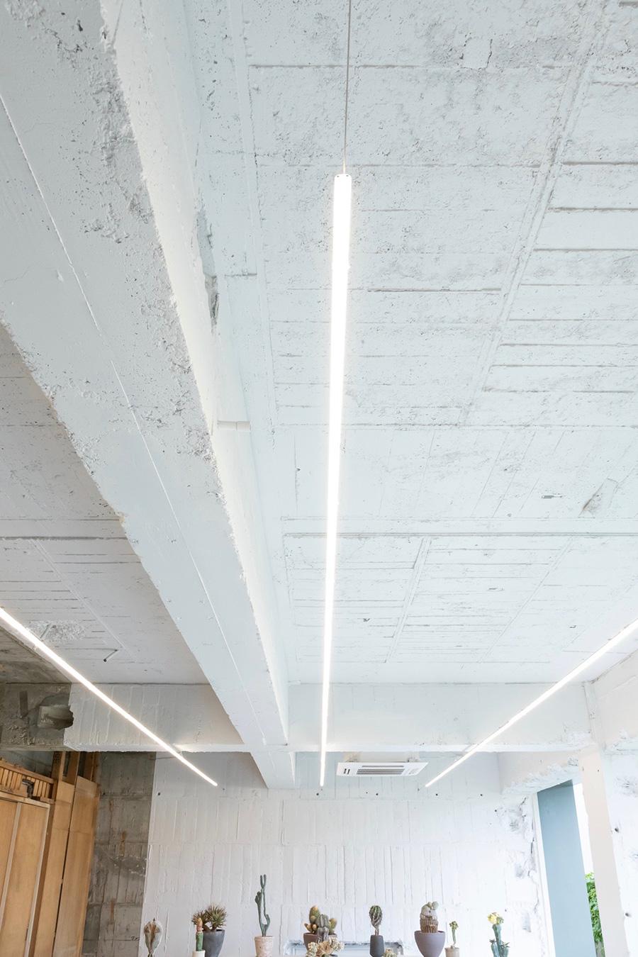 """""""線""""を意識して配置された、一本に伸びる細い蛍光灯。"""