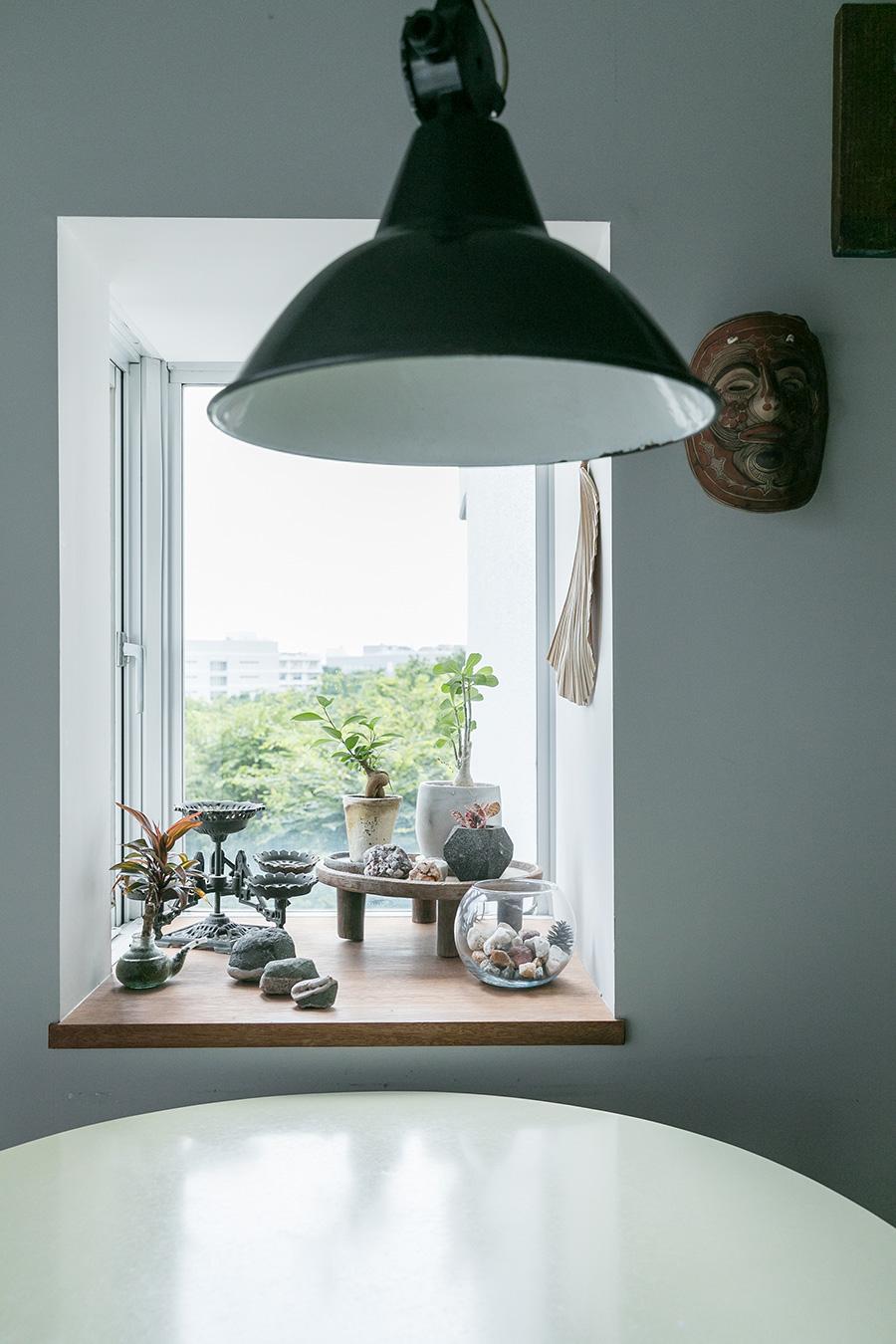 たっぷりとした奥行きの出窓の向こうには、豊かな緑が見える。