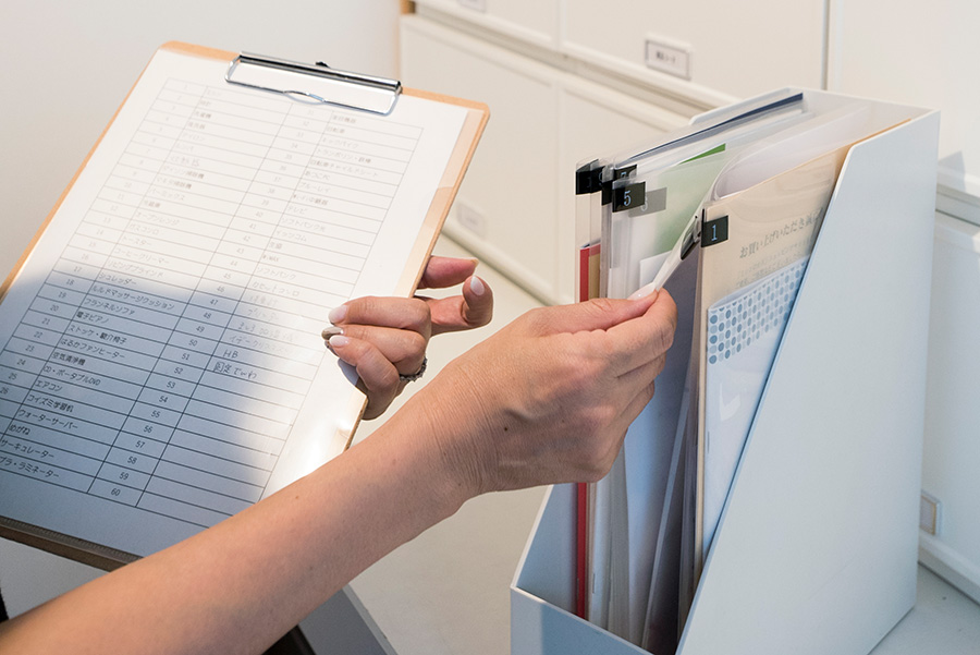 トリセツはクリアファイルにまとめて入れてナンバリング。それを一覧表にして管理している。
