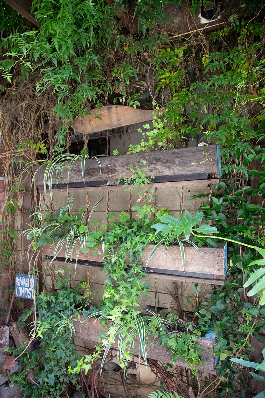 『DIY STUDIO』の外のスペースのプランターボックスは廃材を活用したDIY。同じくDIYしたコンポストボックスや雨水タンクもある。