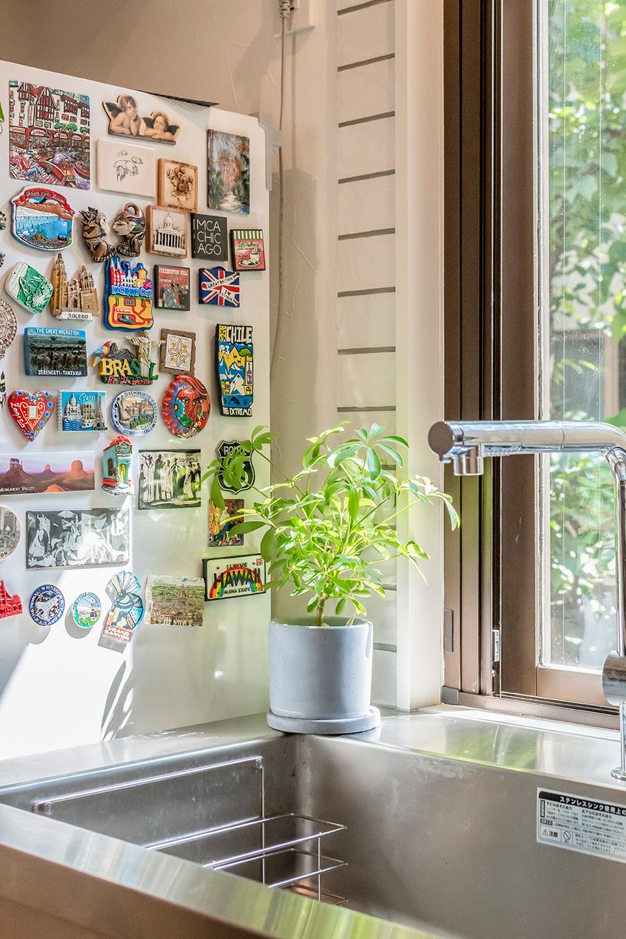 洗い物をしながら、窓の外を眺められるキッチン。