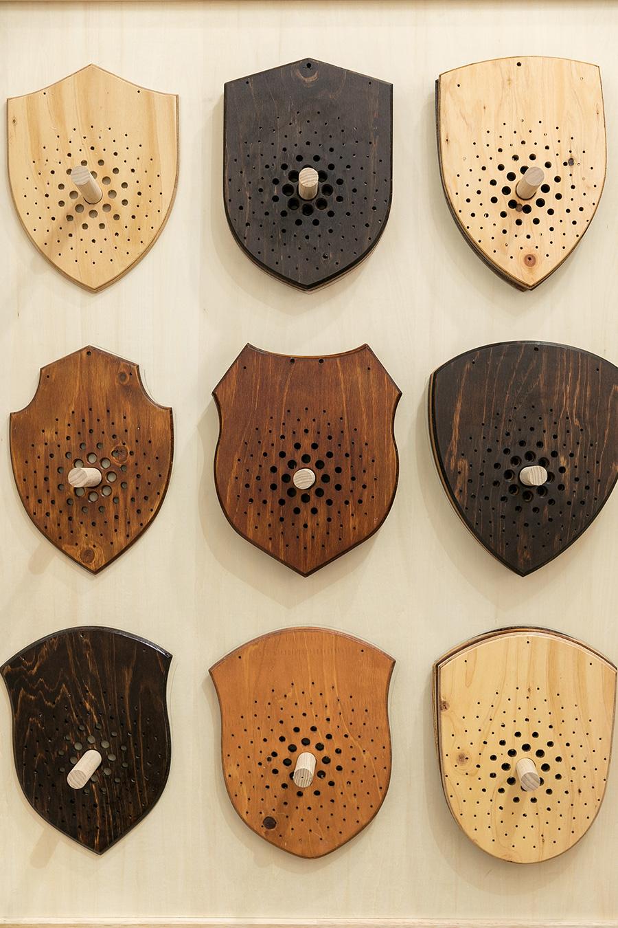 『Flying』のビカクシダを植え付けるためのプレート。9種類の形、クリア、ライトブラウン、ダークブラウンの3色から選べる。木材は何種類かテストして、現在は針葉樹の合板を使用。
