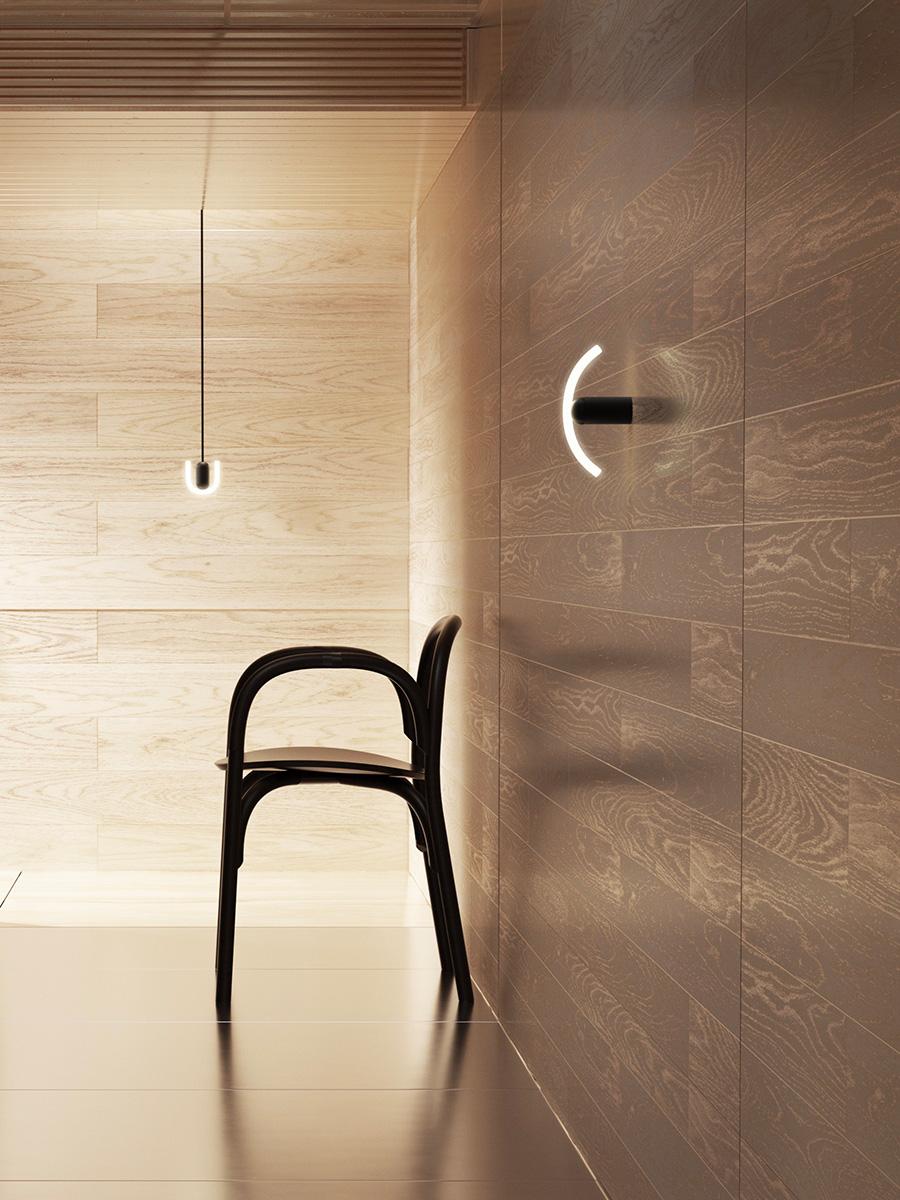 ウォールランプとして、シンプルに壁面を飾ってくれる。