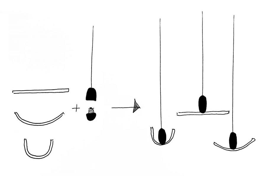 デザイナー、サミュエル・ウィルキンソン氏によるドローイング。電球と装具を組み合わせて自由にデザインピースを完成させる提案。