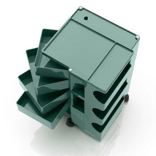 天板と4面すべてが機能的。 トレイは最大で約180度回転し、ワンプッシュで簡単に開閉できる。 3つのブロックに分かれた天板は、小物が転がり落ちないように、高さ12mmの仕切りが付いている。