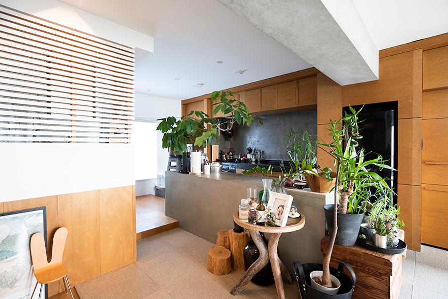 キッチン前の洗面・バスルームはルーバーで囲いを。ドアはなく、光が通り抜ける。