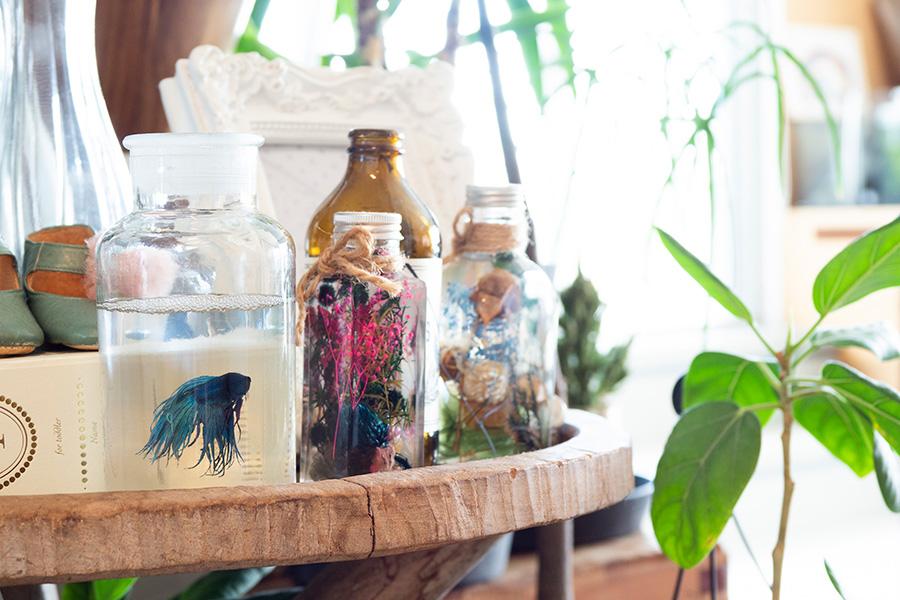 お子さんの写真や思い出の靴など、大切なものをディスプレイ。ブルーの熱帯魚は、酸素の少ないコップなどでも飼育できるベタ。