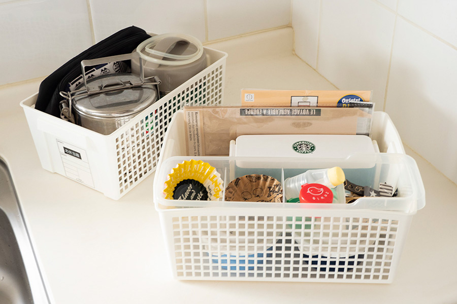 お弁当を用意するときのセット。小物などはパッケージから出しておくと、手間がかからない。