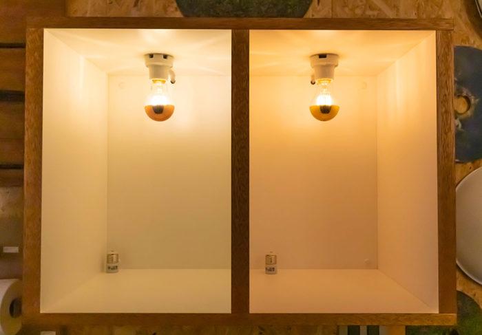 電球の色をBOX内で試すことができる。暖かい色はリビングや寝室には向いているけど、勉強部屋では眠くなる? 場所によってうまく使い分けたい。