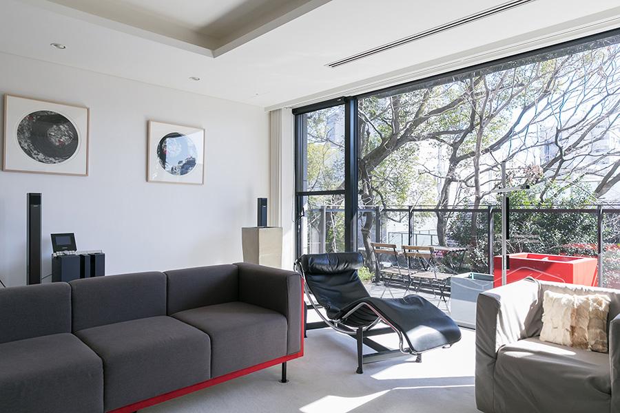 サロンには常に日差しが入る。室内をすっきりした空間に見せるため、ボリュームのでるカーテンではなくブラインドを採用。