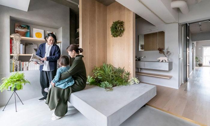設計士の家族リノベーション主役は玄関。モルタルのベンチに緑を植えて。