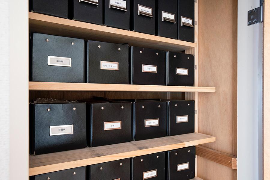 廃盤になったIKEAのフタ付きのボックスを使用。アイテム毎に収め、もちろんラベルを貼って管理。