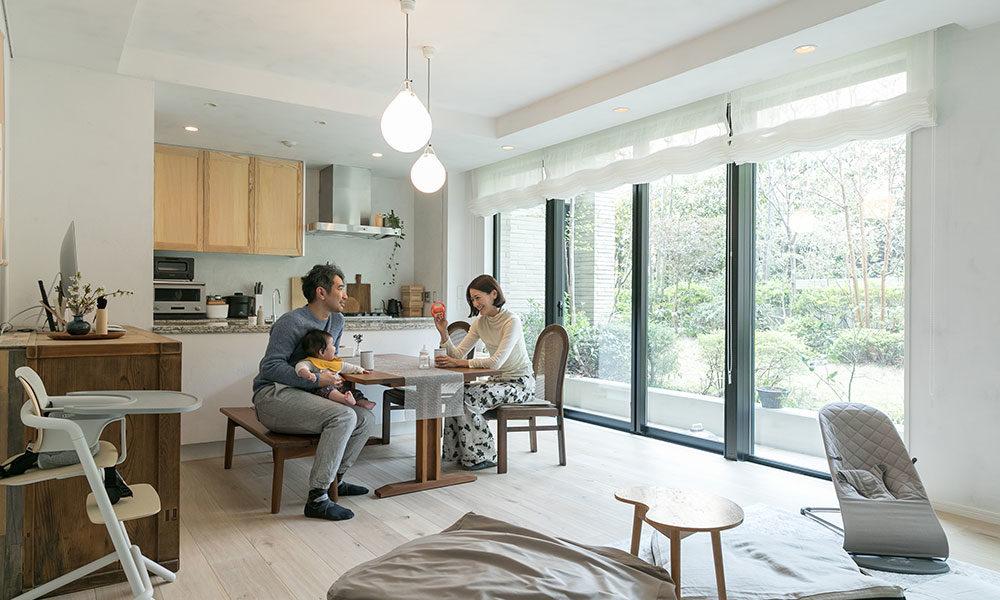 築浅集合住宅に土壁を 白✕ベージュ。トーンと 素材感を楽しむリノベーション